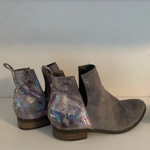 Gray booties with iridescent faux snakeskin